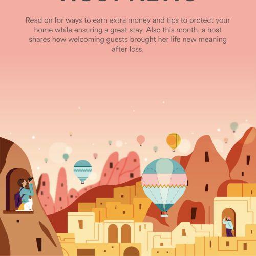 Digital illustration of September's host news for Airbnb