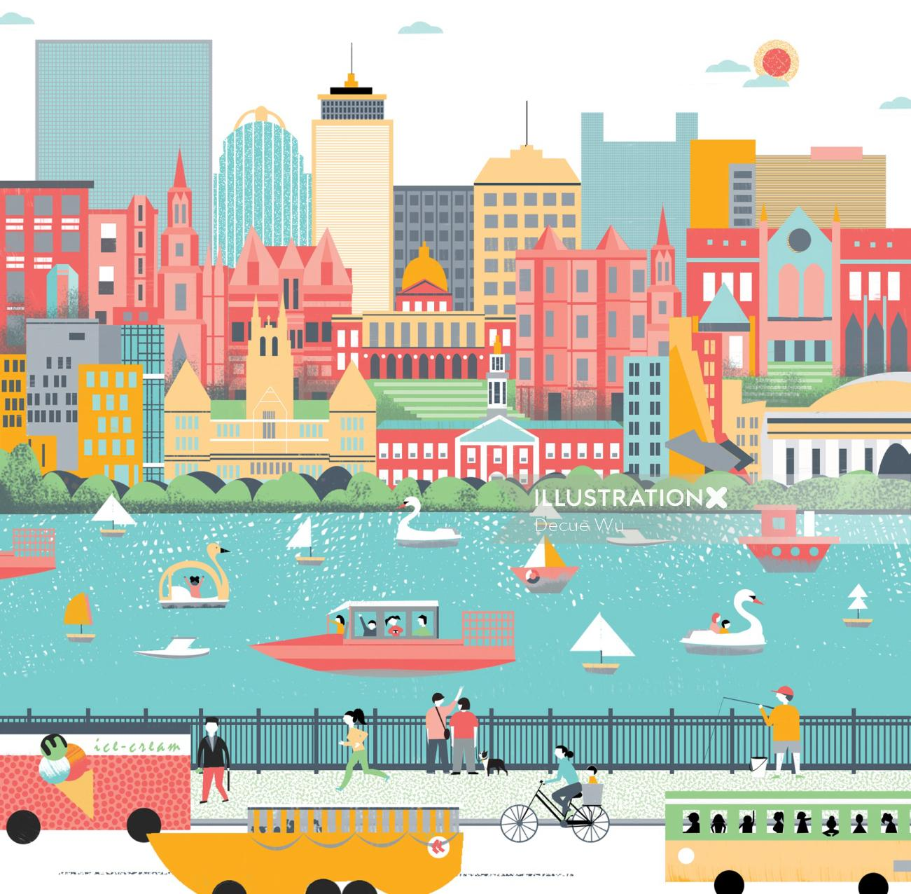 Boston's Economy Lifestyle Illustration For Airbnb