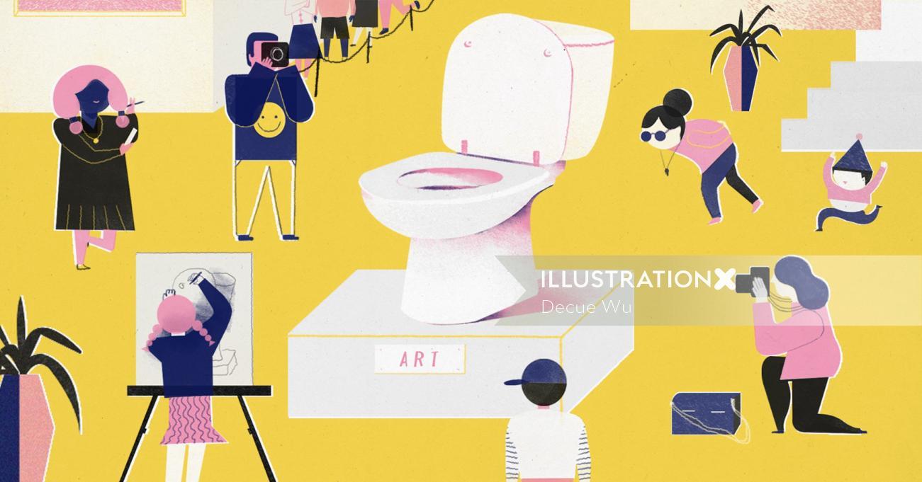 Illustration of toilet