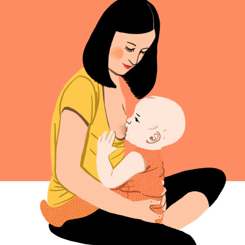 Mother feeding baby illustration by Decue Wu