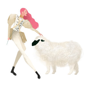 Woman with white sheep illustration by Decue Wu