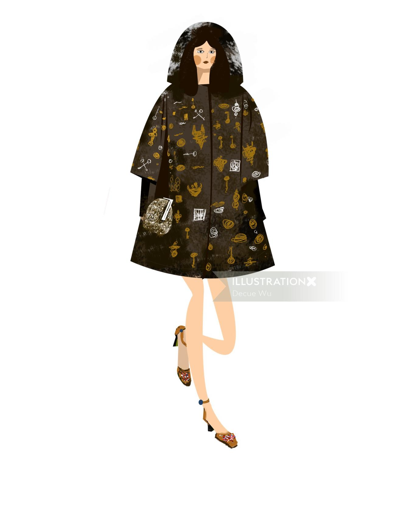 An illustration of women fashion dresses