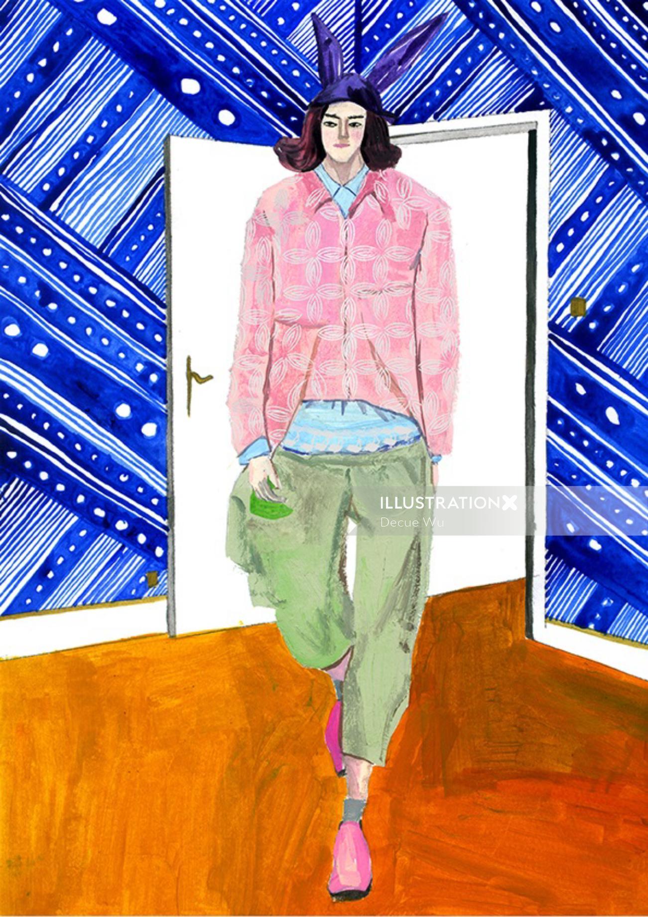 Men fashion illustrations for Milk X Magazine by Decue Wu