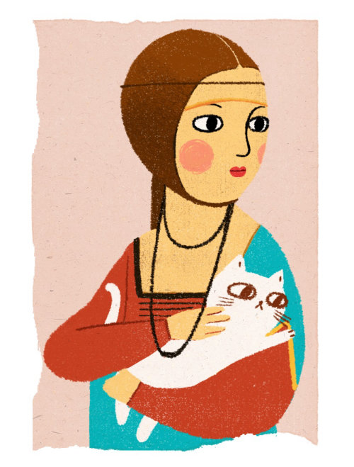 Painting of a lady with cat