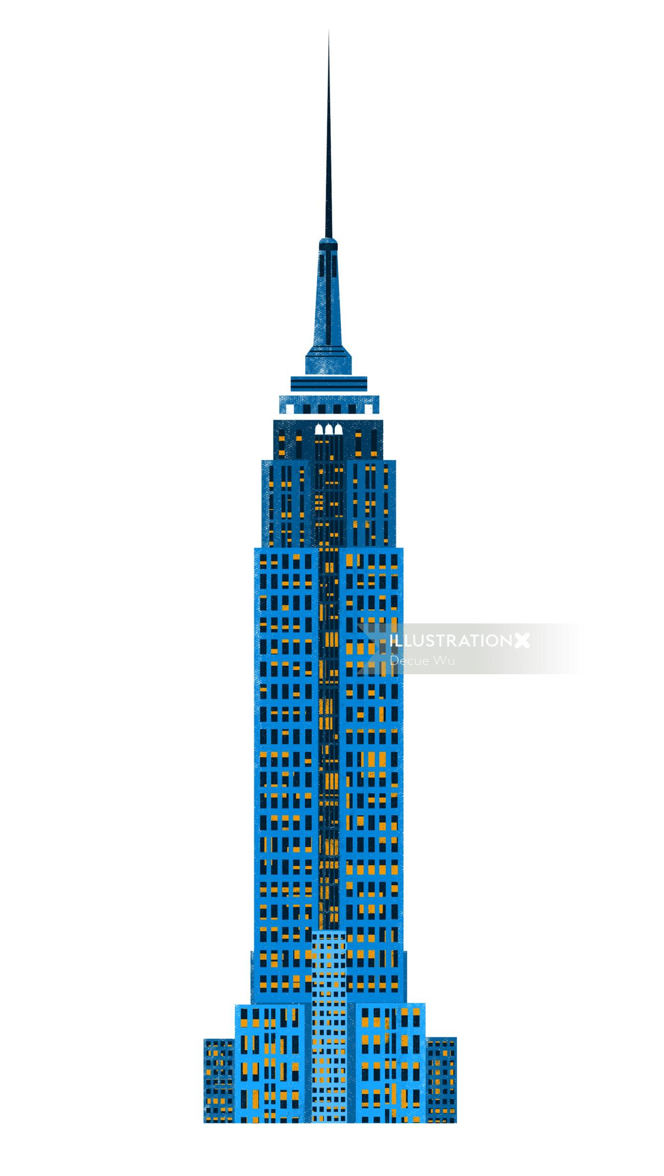 An Illustration of Manhattan skyline tower