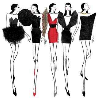 An illustration women slim wear dressing