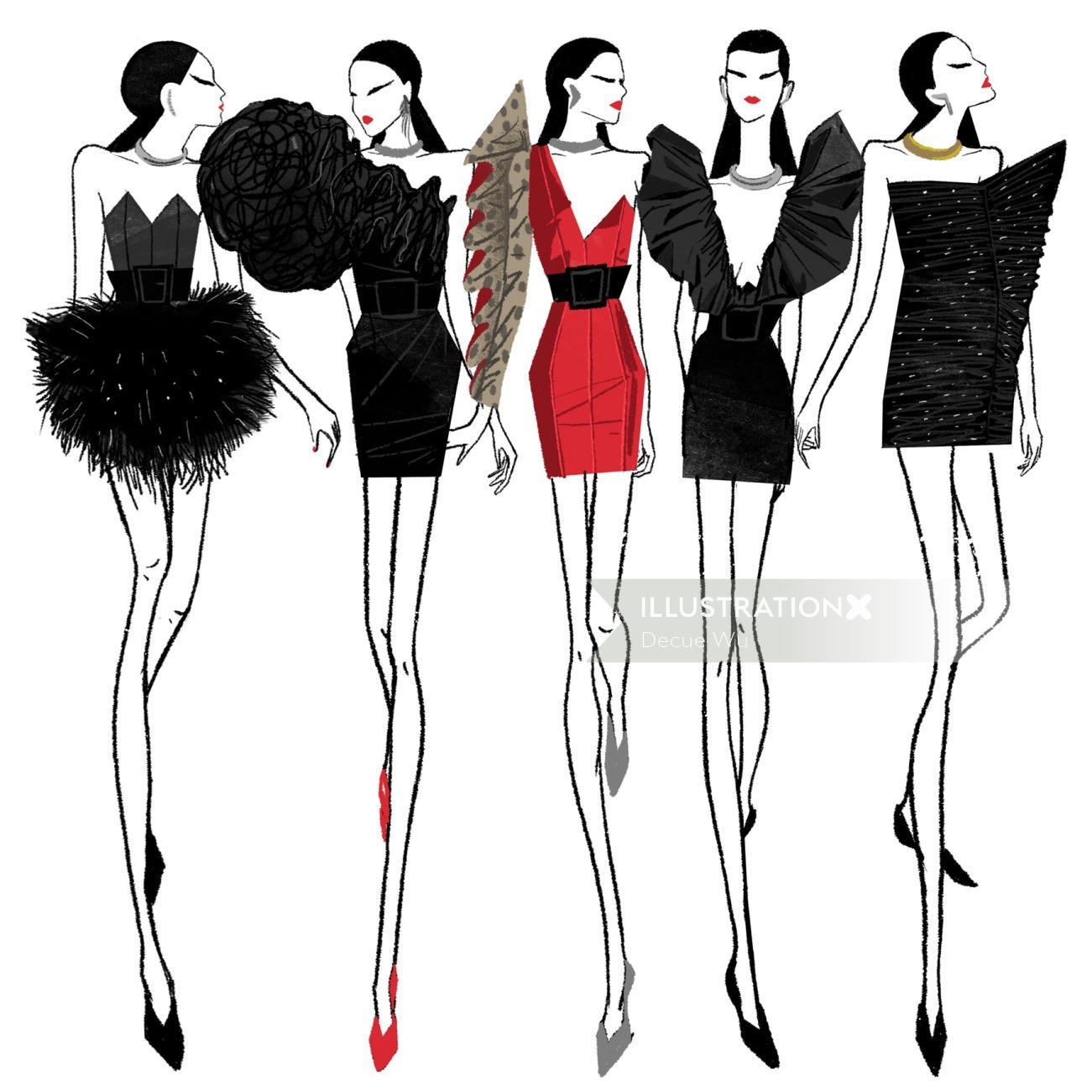 An illustration women slim wear dressing
