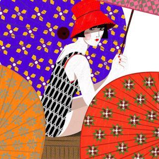 An illustration of a lady in swim wear