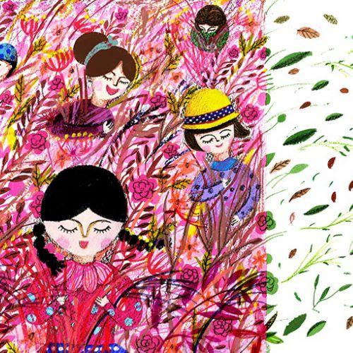 Girls in fields illustration by Decue Wu