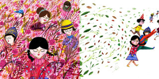 Girls in fields illustration by Decue Wu