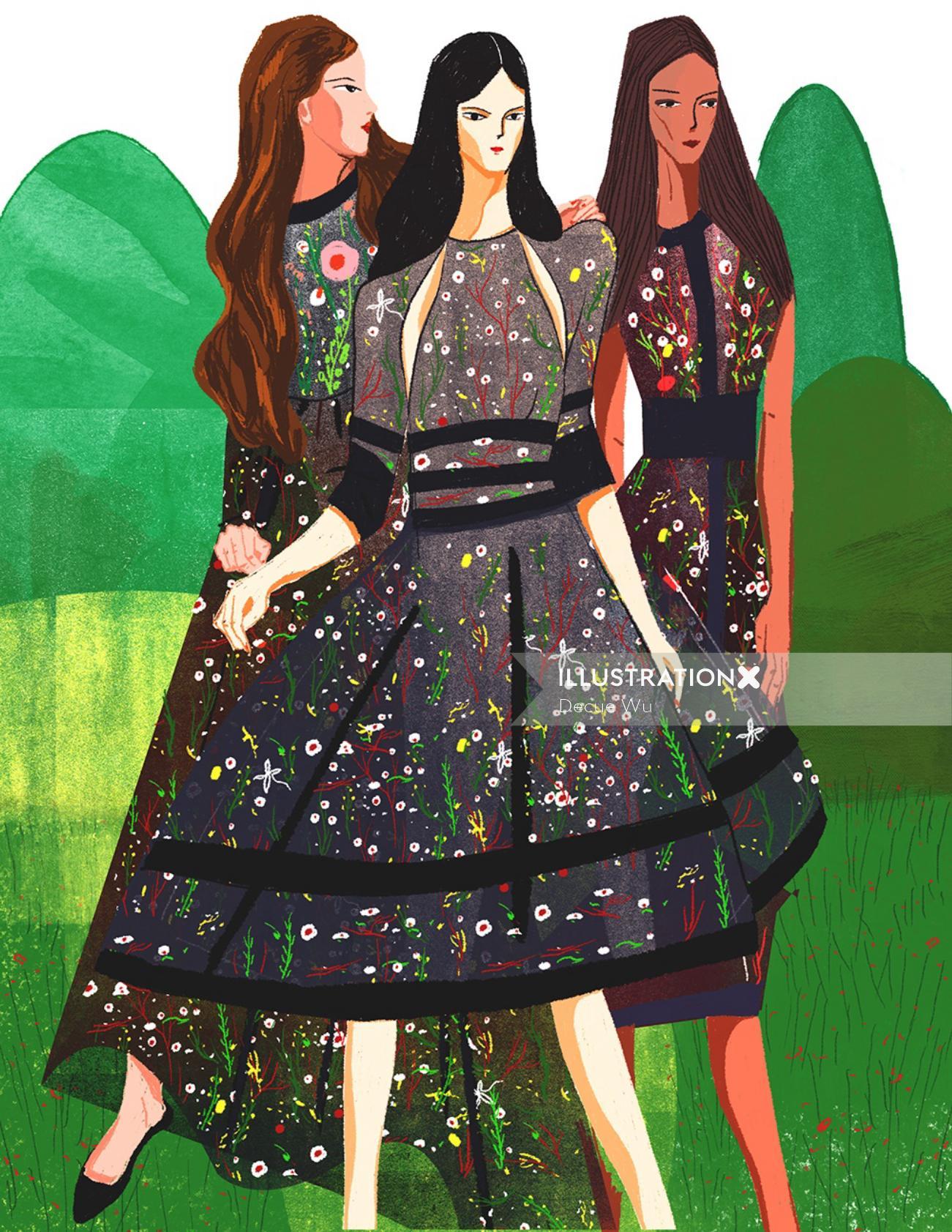An illustration of women dressing