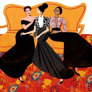 Fashion women sitting on sofa illustration by Decue Wu