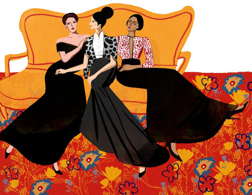 Fashion women sitting on sofa illustration by Decue Wu