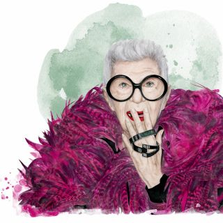 Fashion portrait illustration of Iris Apfel