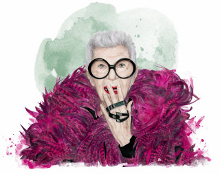Fashion portrait illustration of Iris Apfel