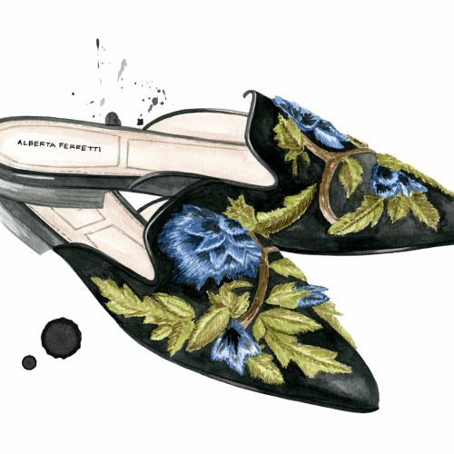 Water colour designed women shoes for Alberta Ferretti Fashion Designer