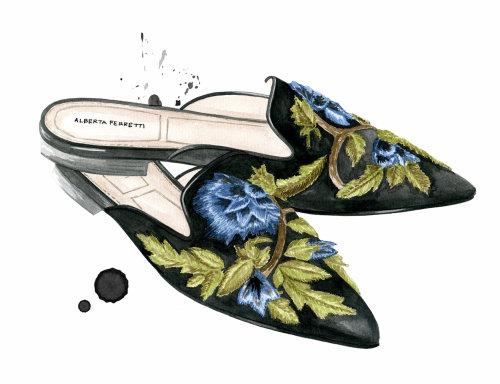 Water colour designed women shoes for Alberta Ferretti Fashion Designer