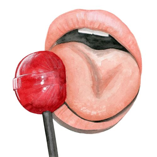 Water colour image of mouth licking lollipop