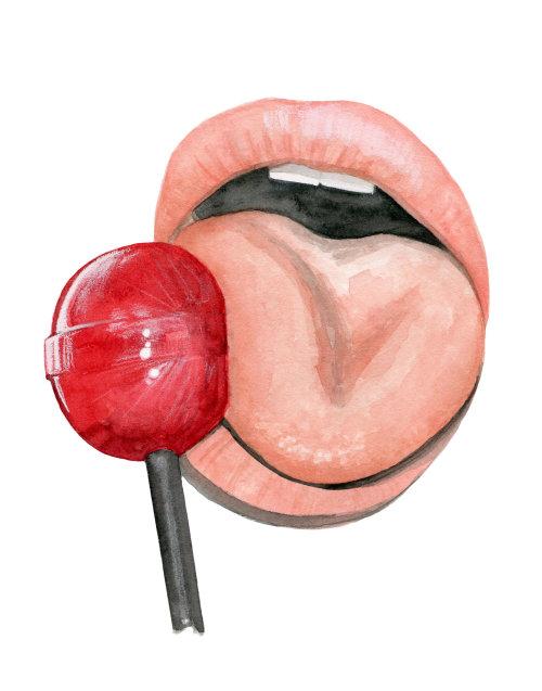 Imagen en color de agua de paleta para lamer la boca