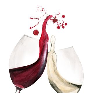 Water colour of Wine glasses toast gesture