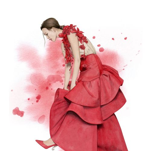 Water colour fashion illustration of a model wearing Rosie Assoulin