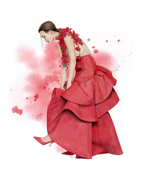 Ilustração de moda de cor de água de uma modelo usando Rosie Assoulin