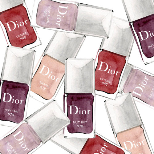 Water colour illustration of Dior Vernis nail colours