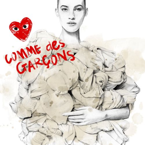 Fashion illustration portrait of model wearing Comme des Garcons