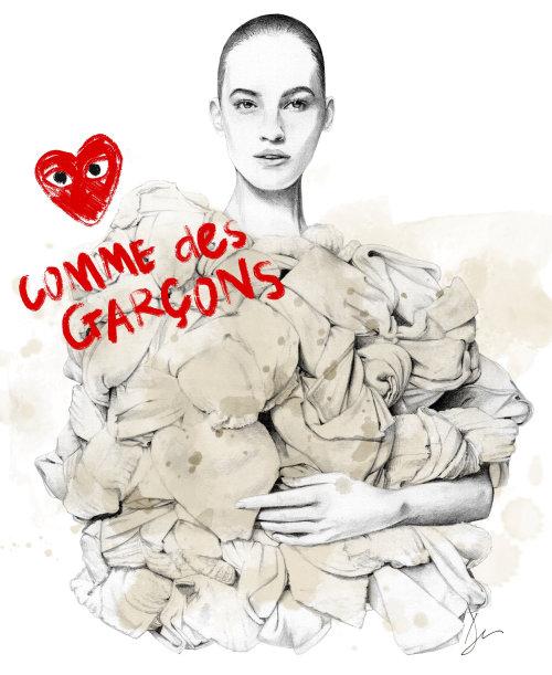 Retrato de ilustração de moda da modelo vestindo Comme des Garcons