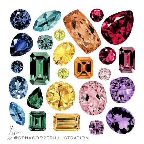 Illustration of coloured Gemstones by Dena Cooper
