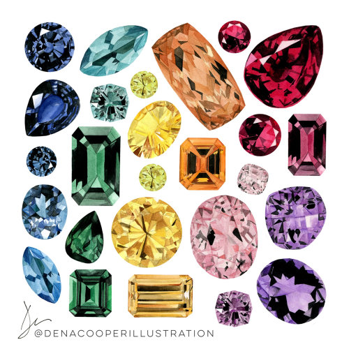 Ilustração de pedras preciosas coloridas por Dena Cooper