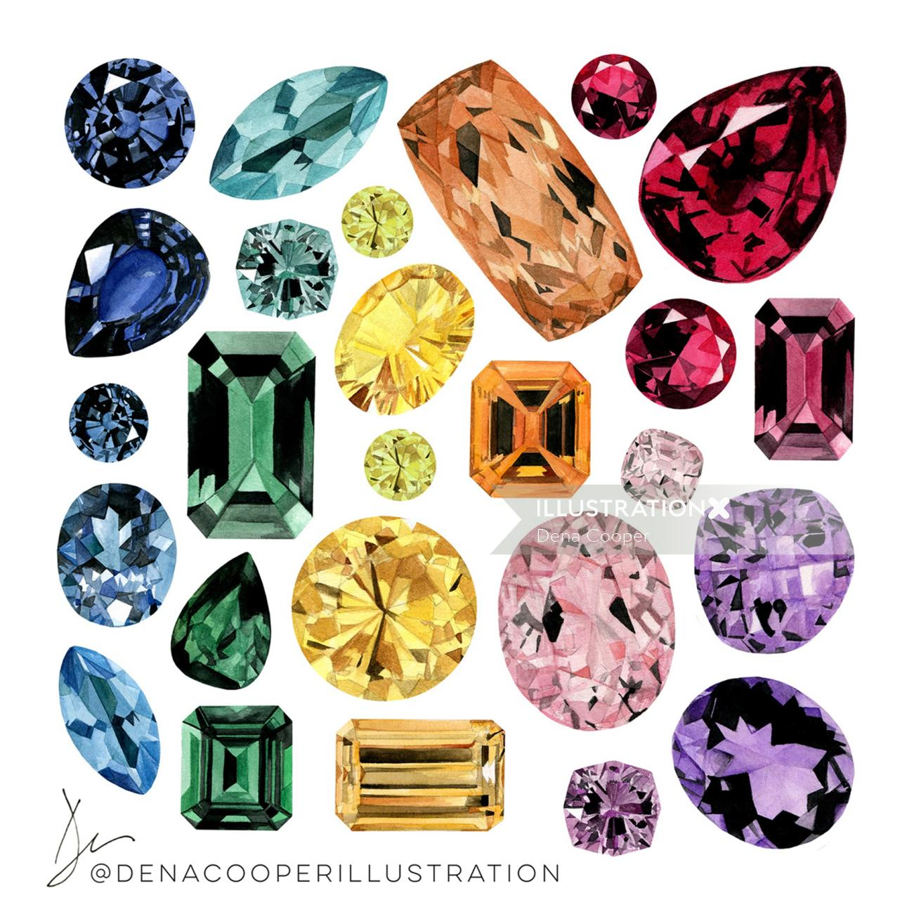 Illustration of coloured Gemstones by Dena Cooper