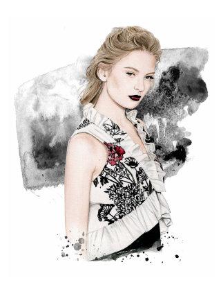 Fashion illustration portrait of Ane Amour