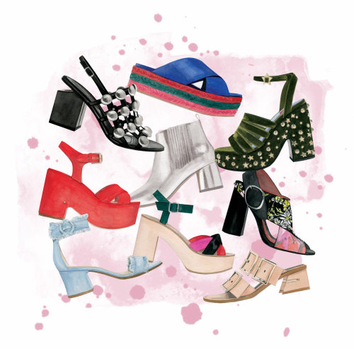 Water colour painting of Women Fashion shoes