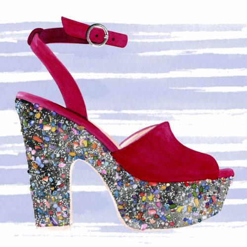 Fashion decorative artwork on a lady footwear
