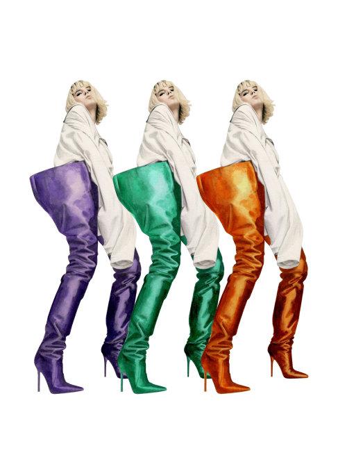 Ilustração de moda das botas Manolo Blahnik X Vetements