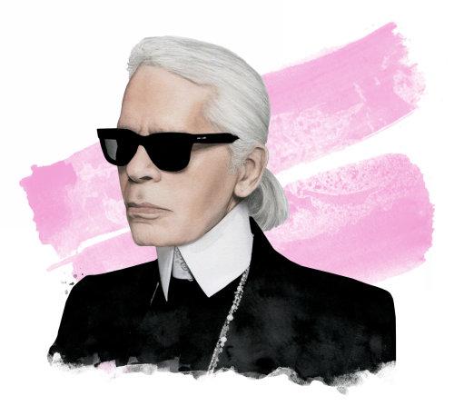 Ilustração do retrato de Karl Lagerfeld