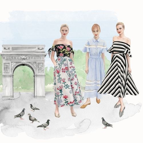 Illustration of cityscape & fashion girls