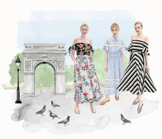 Illustration of cityscape & fashion girls