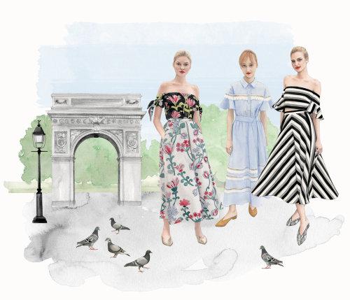 Ilustração da paisagem urbana e moda meninas