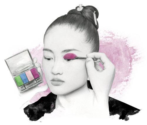 Mascara makeup girl brushstroke painting