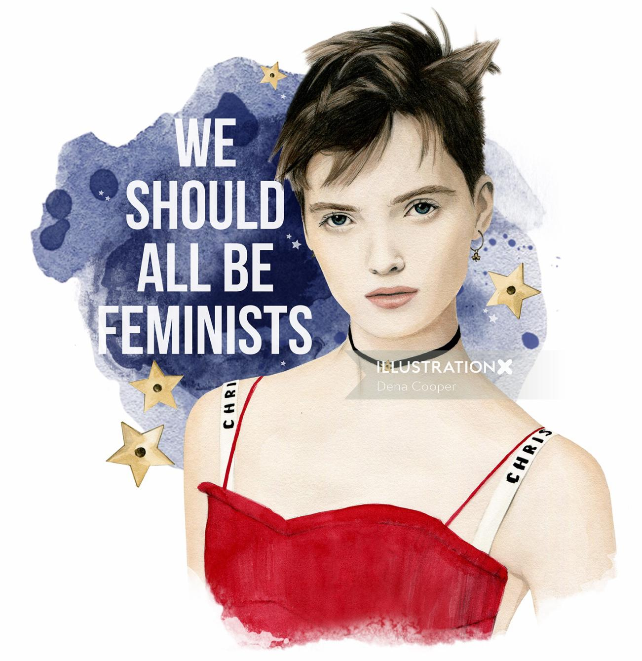 Illustration of a model with feminism graphic