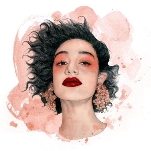 Pintura de una niña con aretes grandes
