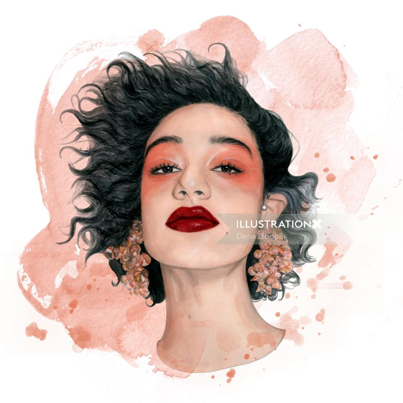 Painting of a girl with big earrings