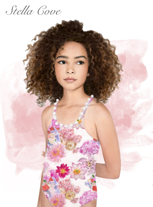 sketch of girl with curly hairs
