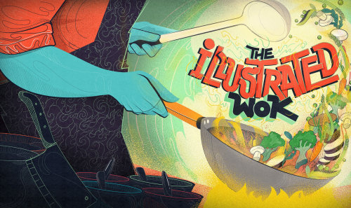 the illustrated wok design and artwork