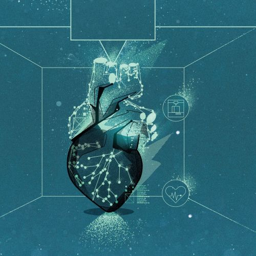 Medical heart in hologram in future