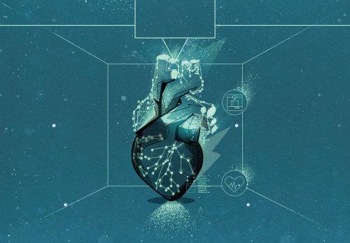 Coeur médical en hologramme à l'avenir