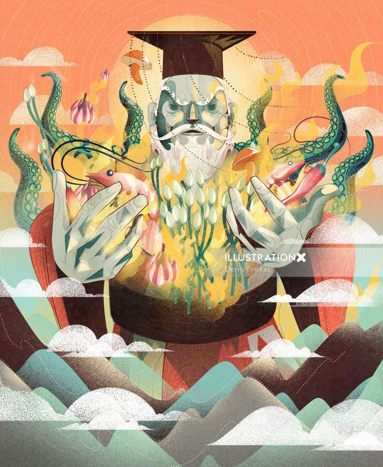 conceptual art of sea god