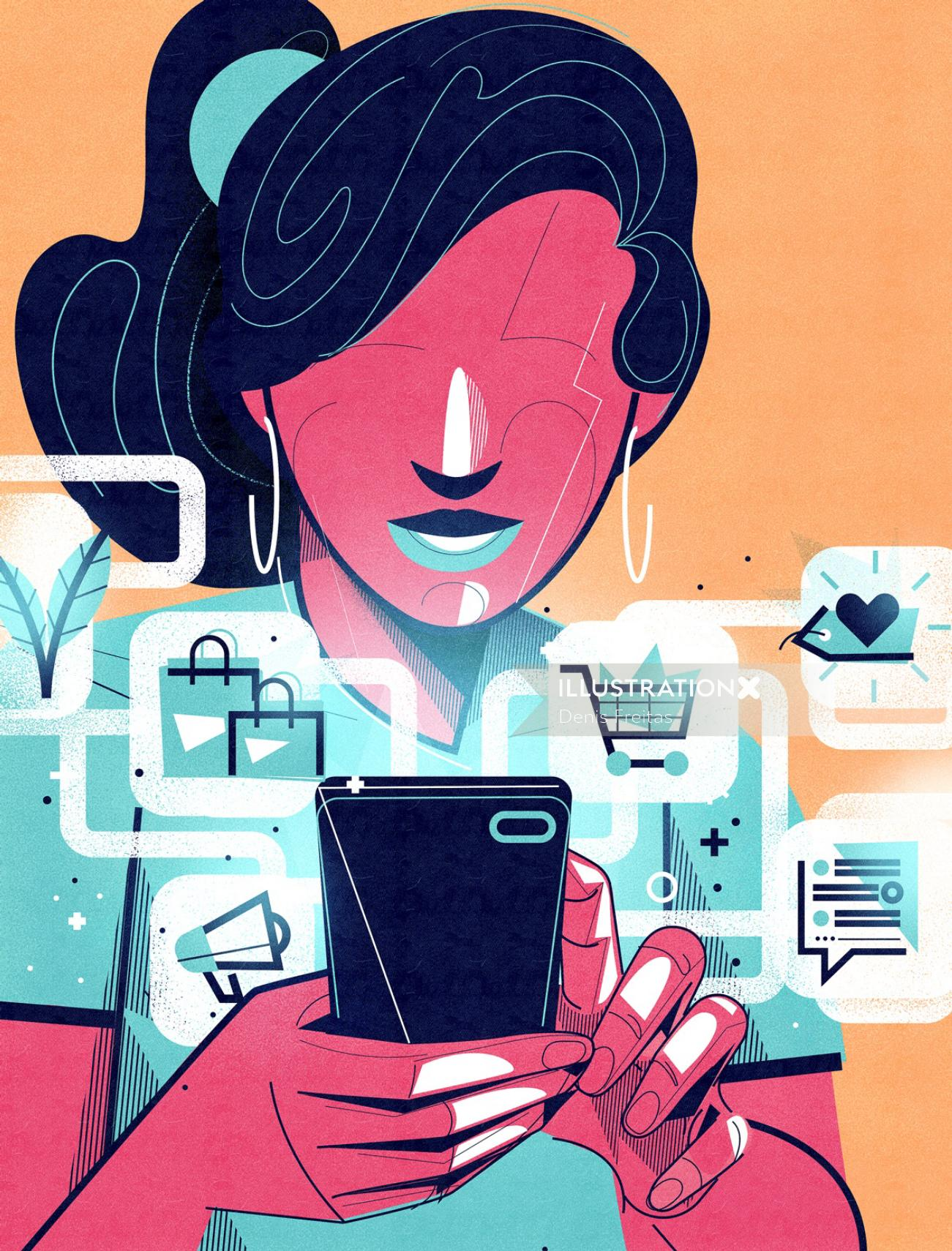 lady busy with online shopping